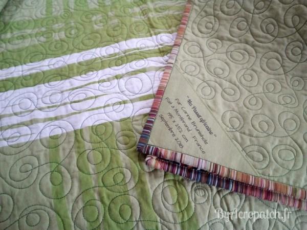 Acropatch-couvre-lit-Passacaglia-Motif-Quilting-Doubles boucles-fil-uni-vert kaki-étiquette et envers