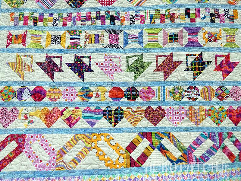Acropatch-Plaid-Zébulon-Motif-Quilting-Medley-fil-multicolore pastel-détails des rows