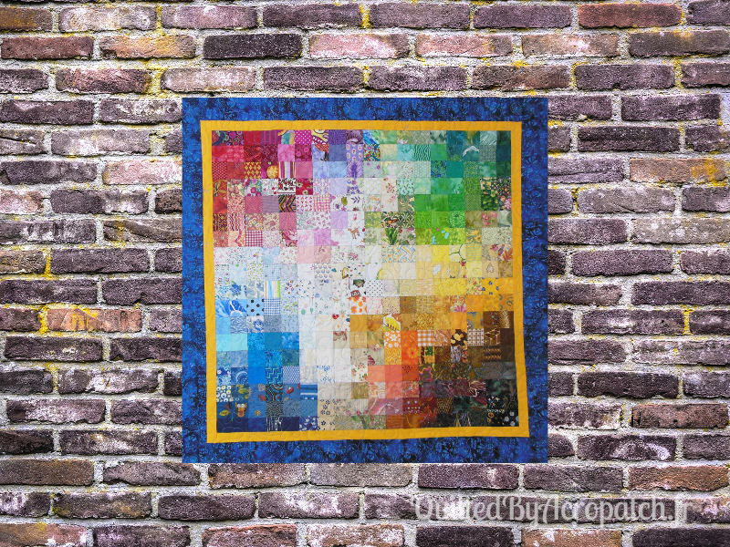 Panneau-mural-Watercolor-Motif-Quilting-Farandole-fil-uni-bleu moyen