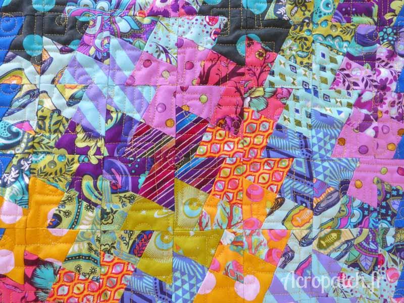 Acropatch-motif-quilting-PICASSO CARRE-panneau-mural-mini-twist-fil-uni-jaune