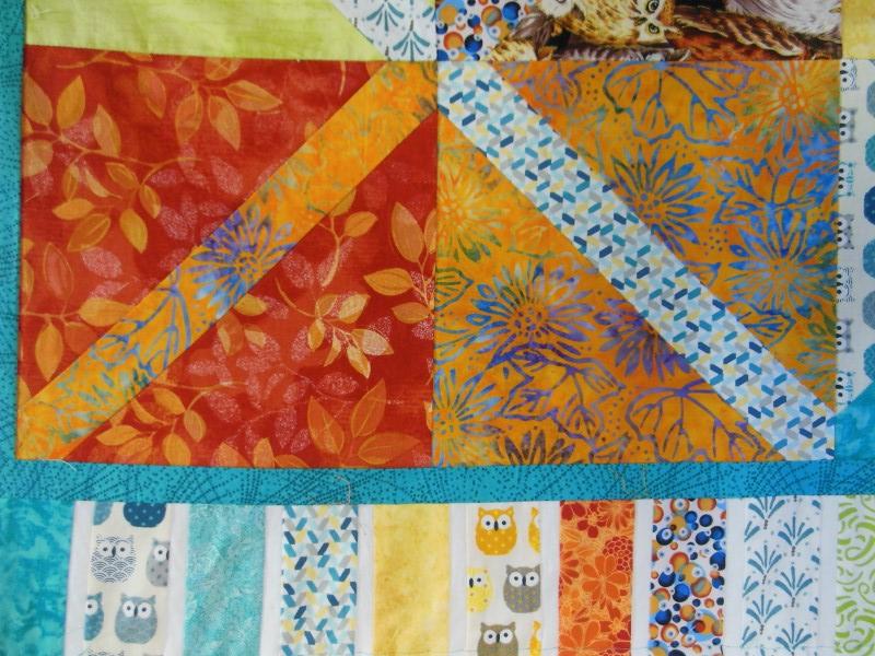 """Plaid-""""Diagonales""""-Motif-Quilting-DAISY-fil-uni-bleu-avant le quiltage quiltage"""