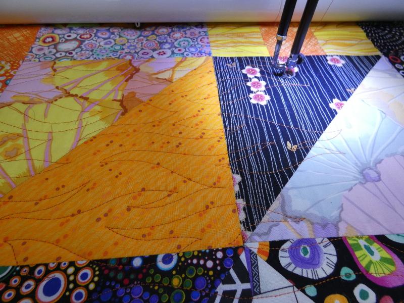 """Plaid-""""Border line""""-Motif-Quilting-VAGUE-fil-uni-orange-pendant le quiltage"""