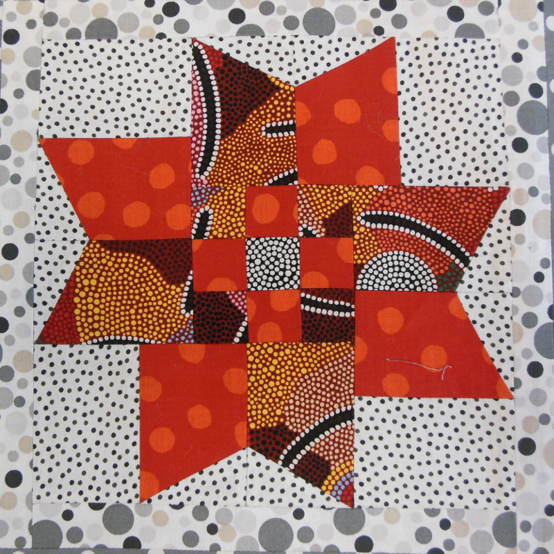 "Plaid-""Scoubidou""-Motif-Quilting-DOUBLE BOUCLE-fil-uni-orange-bloc avant le matelassage"