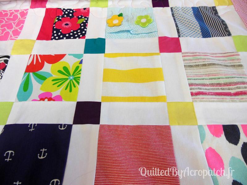 Couvre-lit-Motif-Quilting-Puzzle-fil-dégradé-rose-avant le quiltage