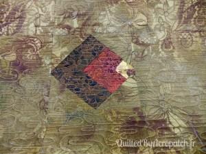 The lone star-Panneau-mural-Motif-Quilting-Ondulation-fil-dégradé-mordoré-vue sur l'envers