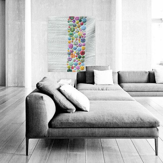 Acropatch-Panneau_mural-Modern_quilt-Pink-Motif-Quilting-Medley-fil-uni-gris clair-dans un salon