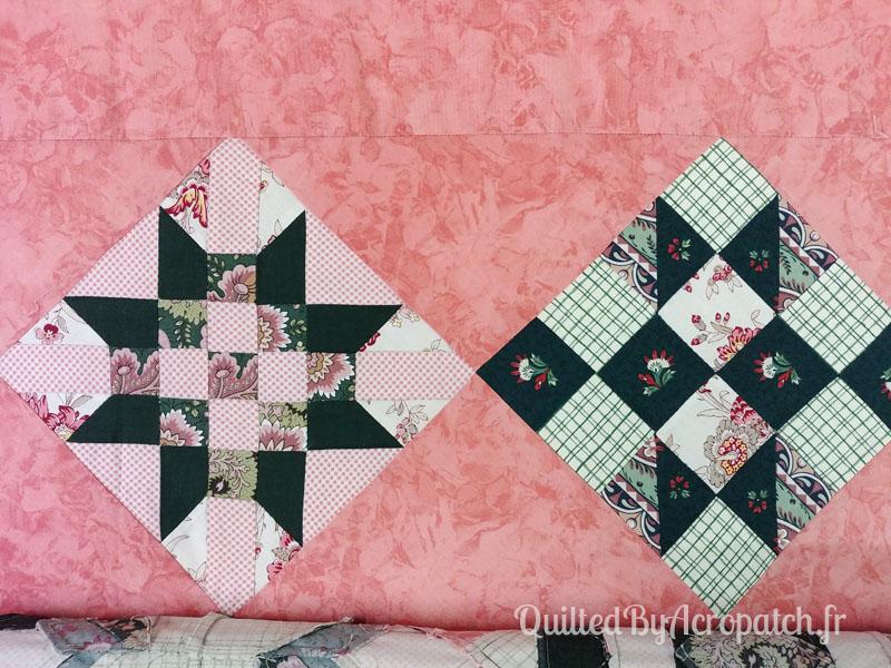 Couvre-lit-Sampler-médaillon-Motif-Quilting-DOUBLE BOUCLE-fil-multicolore-blocs avant le matelassage