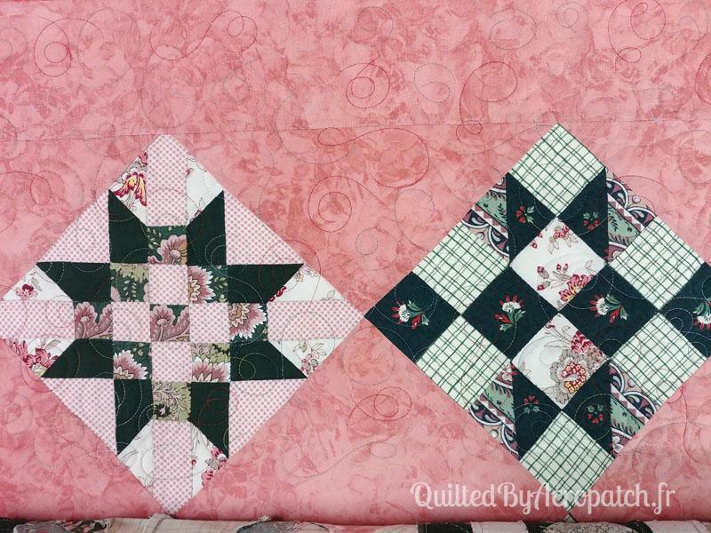 Couvre-lit-Sampler-médaillon-Motif-Quilting-DOUBLE BOUCLE-fil-multicolore-blocs après le matelassage