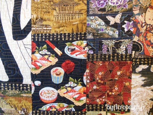 Acropatch-Couvre-lit-Geisha-tissus-japonais-203x233cm-détails