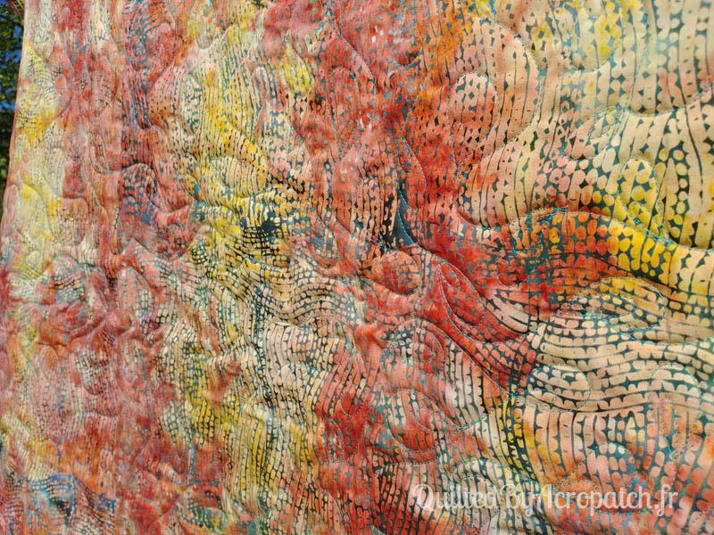 Panneau-mural-Oz-Motif-Quilting-Plumétis-Fil-uni-vert d'eau-154x116cm-Vue sur l'envers