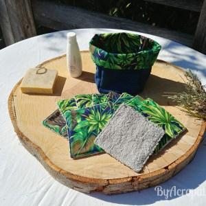 Pochon-lingette-lavable-feuillage-éxotique-bleu-vert-PL104