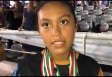 La nadadora infantil del equipo Pirañas Tri Racing, Grecia Hernández se dijo contenta por sus medallas de oro obtenidas en el Campeonato Nacional de Curso Largo efectuado en Leyes de Reforma.