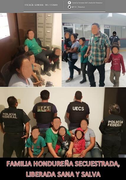 Cinco integrantes de una familia de origen hondureño que eran víctima de secuestro fueron liberados y se encuentran sanos y salvos, como resultado de diversas diligencias realizadas de manera conjunta por la Fiscalía General del Estado de Veracruz (FGE); así como por la Coordinación Nacional Antisecuestro (CONASE), Fiscalía General de la República (FGR), a través de la Subprocuraduría Especializada en Investigación de Delincuencia Organizada (SEIDO); Policía Federal (PF) División Investigación, Unidades Especializadas en Combate al Secuestro (UECS) de los estados de Oaxaca y Chiapas y del Consulado de Honduras en México.