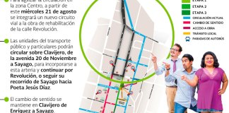 El jefe del Departamento de Movilidad de la Dirección de Desarrollo Urbano, Alfonso López Pineda informó que, para mejorar la circulación vehicular en la zona Centro, a partir de este miércoles 21 de agosto operará un nuevo circuito vial del Plan de Movilidad implementado por la obra de rehabilitación integral de la calle Revolución.