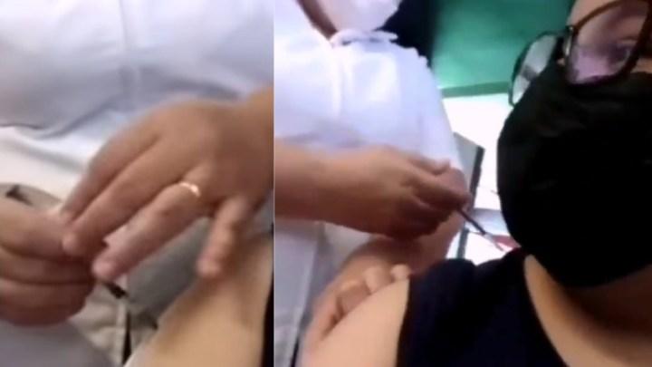 Denuncian a enfermera que fingió vacunar a joven