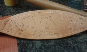 "Whippet leather collar shown. 2 1/2"" widse and 14"" neck size."