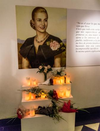 A shrine to Evita at the Evita Museum