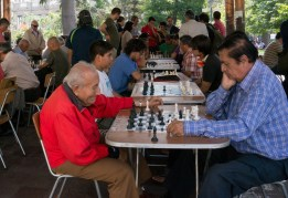 Playing chess is serious sport in Plaza de Armas