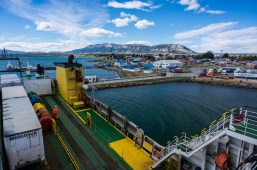 Docked at Puerto Natales. It's a pretty tricky manouvre and sometimes they have to wait hours for the wind to drop.