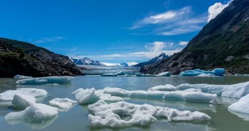 Ice and the glacier at ground level