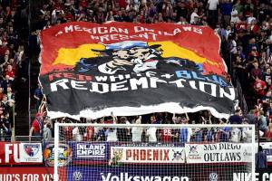 The American Outlaws Phoenix tifo Red White And Blue Redemption at the USMNT January Camp Game at State Farm Stadium