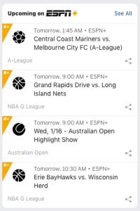 ESPN+ watch schedule