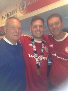 Darren celebrating Accrington winning League Two championship