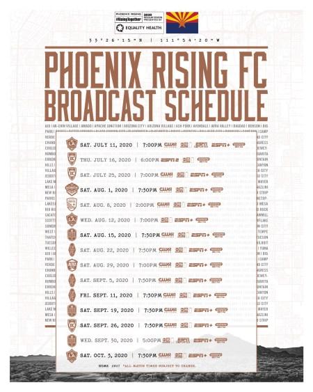 Phoenix Rising Updated Schedule