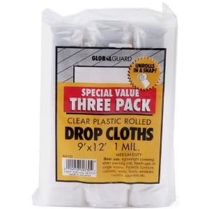 Plastic Drop Cloth, 9-Feet by 12-Feet, 3-Pack