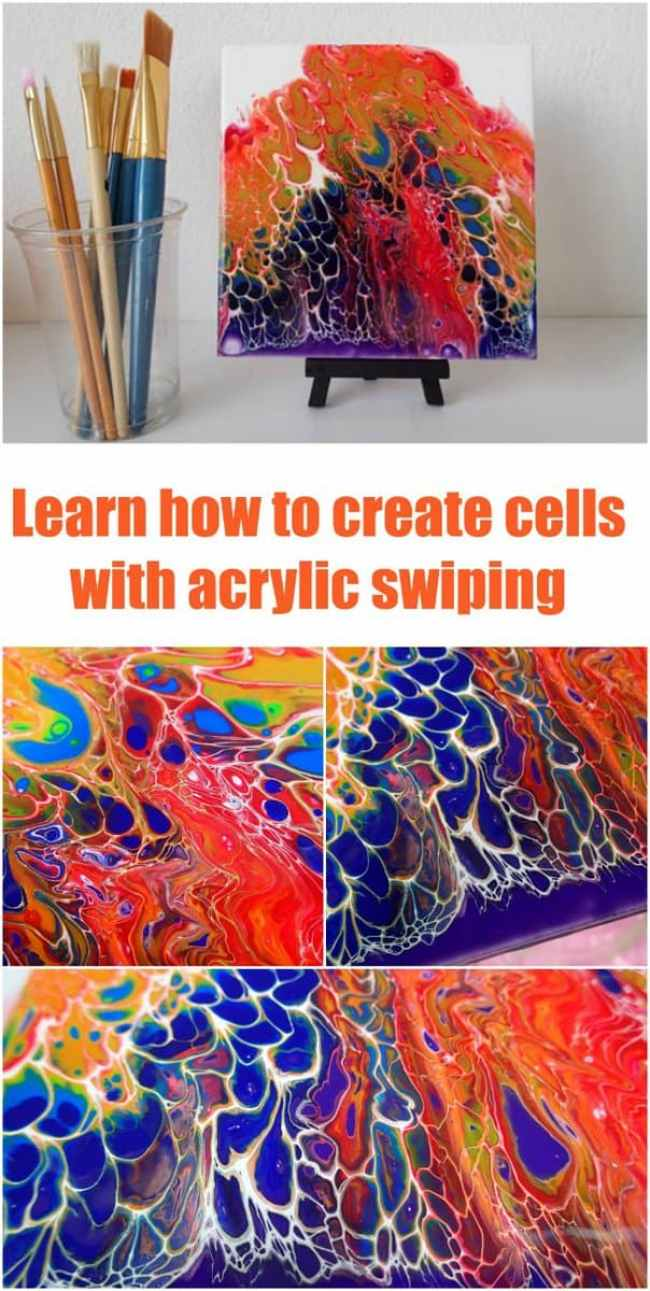 Video tutorial. How to create a rainbow swipe with acrylic pouring and painting. Acrylic fluid art.