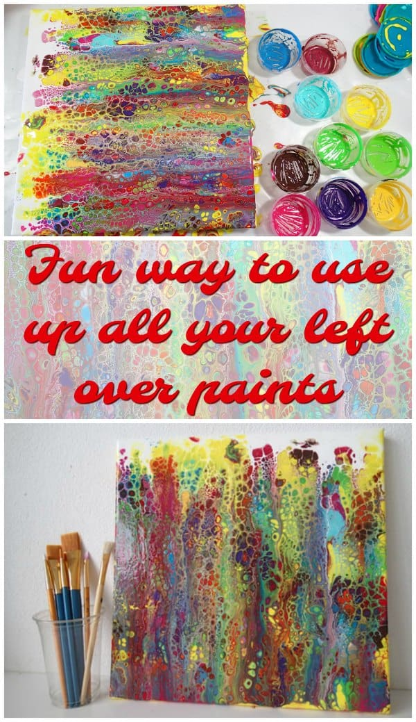 Video. A fun acrylic swipe tutorial showing how you can use up all those small bits and pieces of leftover paints so that nothing goes to waste and you get a great bright acrylic swipe painting. Tutorial.