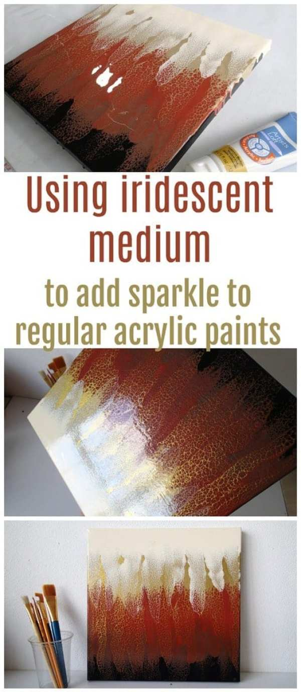 Using iridescent medium in acrylic paints. Artists Loft iridescent medium used in an acrylic pour and swipe painting
