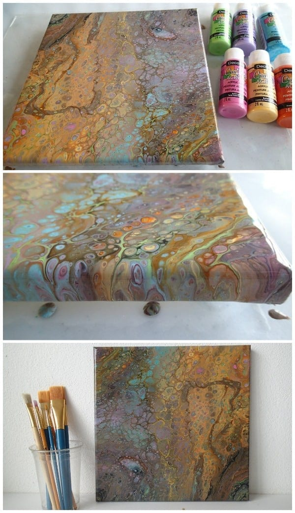 Bright colors plus black used in an acrylic pouring flip cup gives beautiful muted and subtle color scheme. Video tutorial on how to make cells with an acrylic pour.