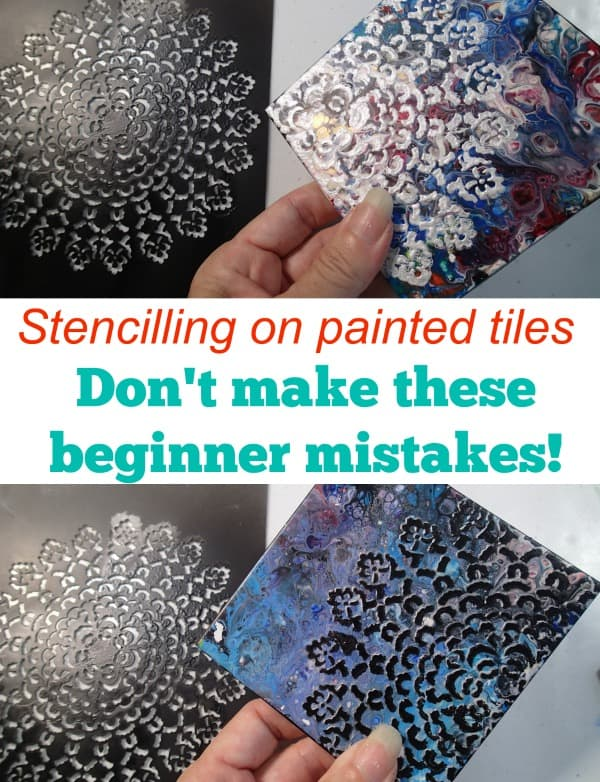 Stencilling on painted tiles. Beginner mistakes to avoid! Video of craft fail.