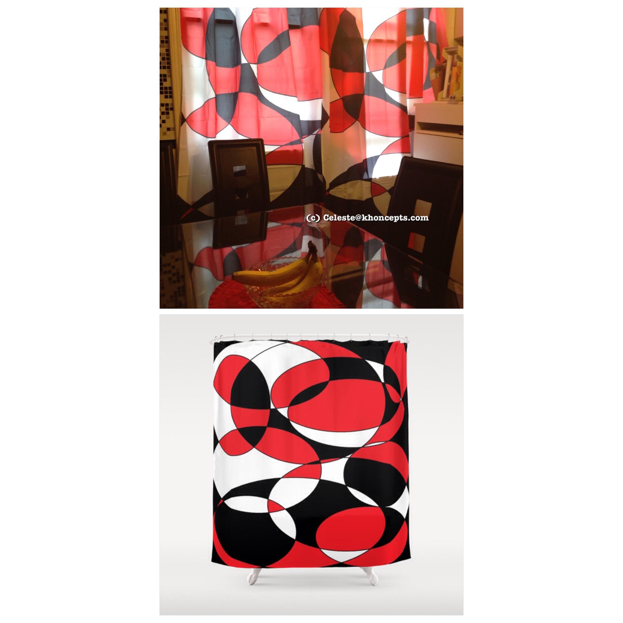 black white and red elliptical design