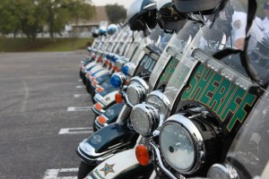 Law enforcement motorcycles lined up for an event