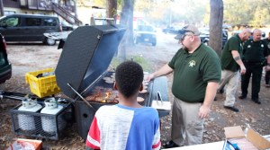 Books and Burgers event - cooking for the neighborhood