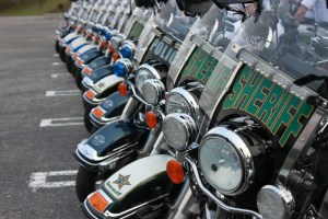 Multi-agency motorcycles lined up for an event