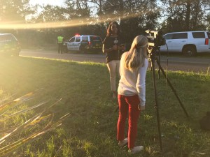 WCJB TV20 broadcasting from a crime scene in Micanopy