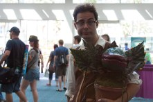 A 'Little Shop of Horrors' fan shows of his homemade Audrey II.
