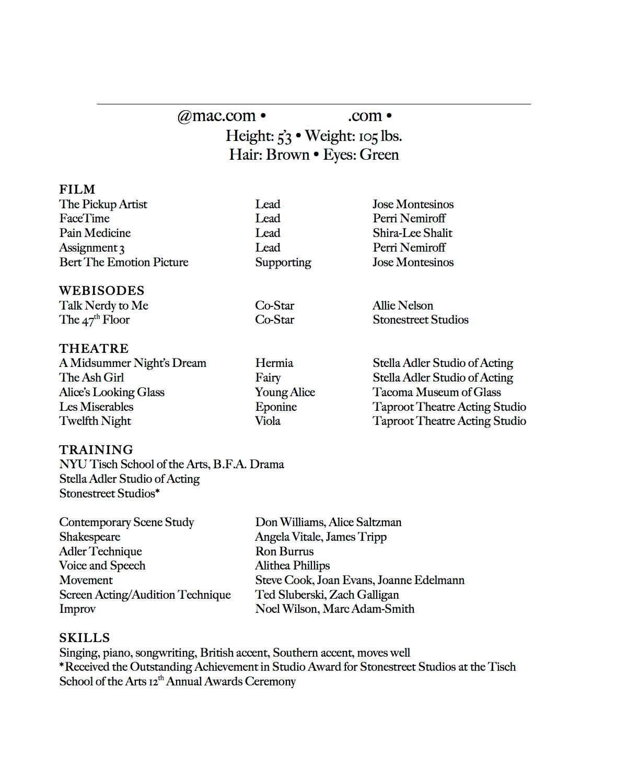 resume modeling resume sample resume template how make acting fashion
