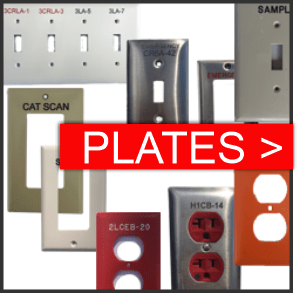 Engraved device covers, switch plates, outlet covers and wall plates. Materials for engraved plates include stainless steel and plastic. Our device cover marking fulfill the requirements in your spec.