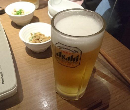 アサヒビールと小鉢2種