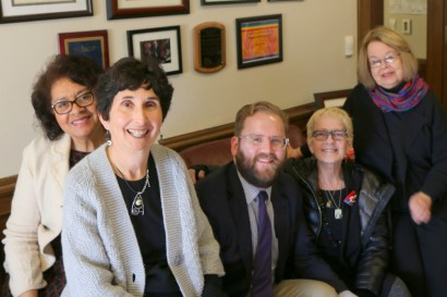 AME members Linda Kennedy, Marilyn Cohen, Claire Beach and Barbara Johnson meet with Senator Marko Liias (center) in Olympia.