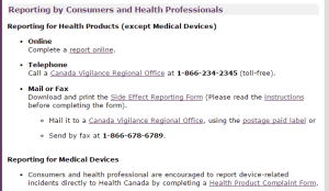 adverse drug event reporting in Canada