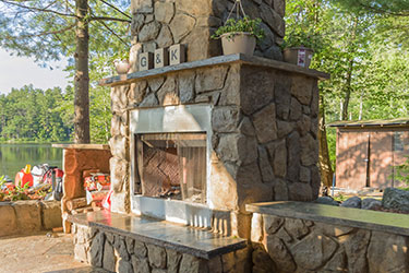 outdoor fireplaces stone or brick
