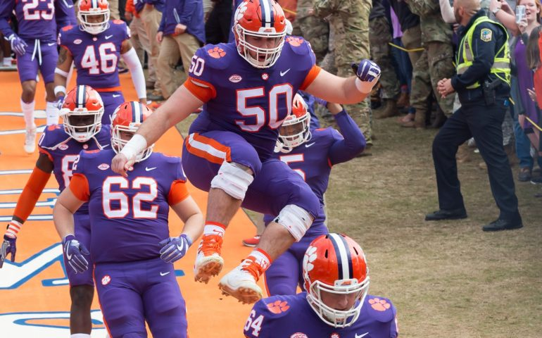 Clemson Tiger Players are so excited before the game