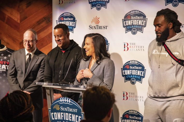 Brian Jordan former Atlanta Falcon and  current Atlana Falcon De'Vondre Campbell with   Adam Zimmerman, Susan Johnson, Lisa Levine announce celebrity flag football game to be played at Suntrust Park superbowl weekend