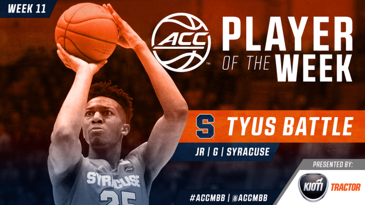 Tyus Battle ACC Player of the week #ACCMBB, #Duke, #BlueDevils