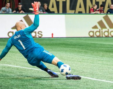 Brad Guzman Atlanta United Goalie blocks a kick